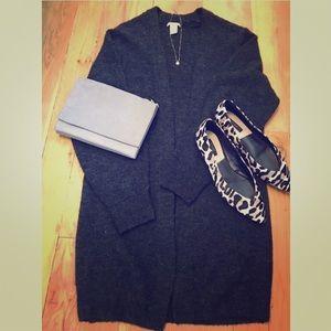 H&M black long knitted cardigan